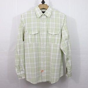Banana Republic Green and White Plaid Shirt